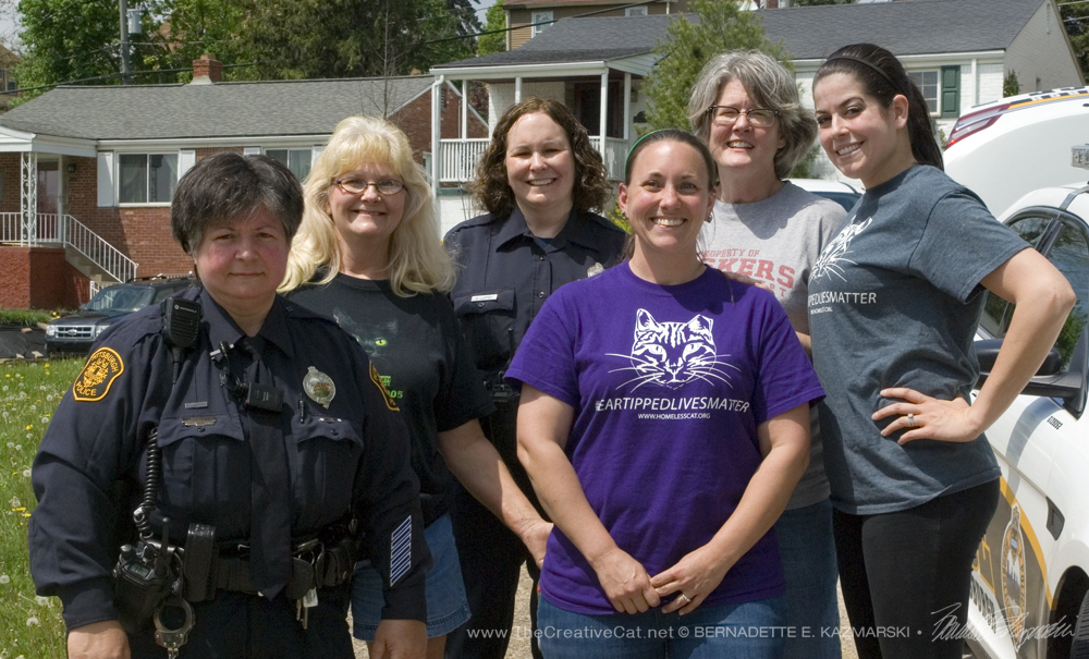 From left: Officer Tracy Schweitzer, Joyce Zilliott, Officer Christine Luffey, Deana Ann Boggs, Mary Kay Gentert, Tarra Provident. All but the officers are volunteer members of the Homeless Cat Management Team.