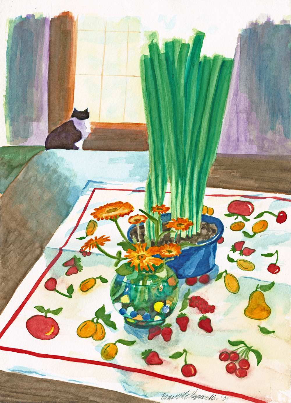 watercolor of flowers and cat