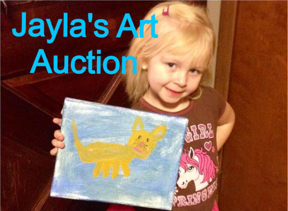 little girl with painting of cats
