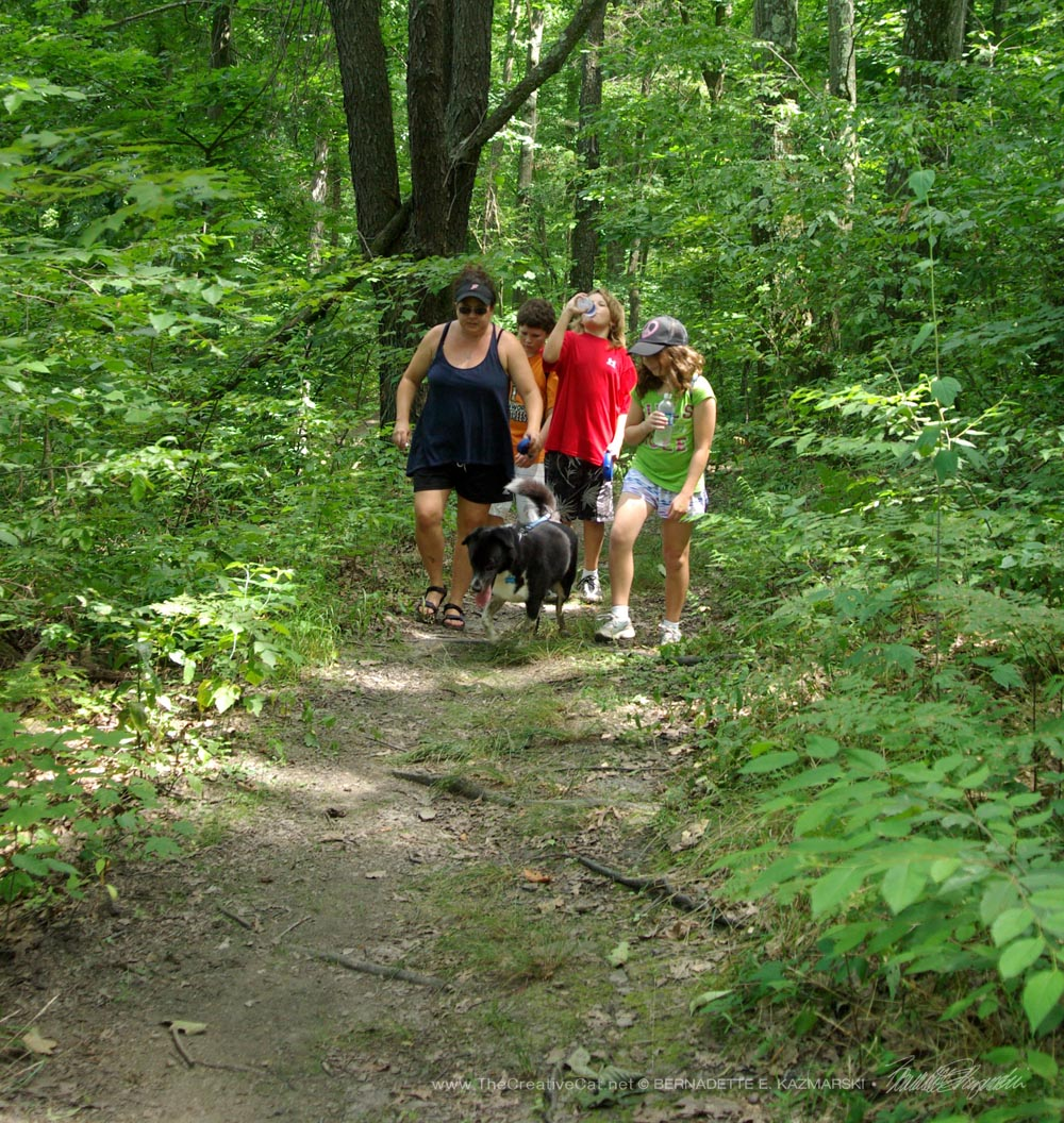 My niece and her children with their dog Bingo along the Nature Walk; I went ahead to check for poison ivy.
