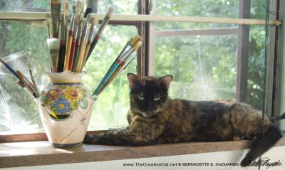 Kelly the Studio Cat supervising my work from the studio windowsill.
