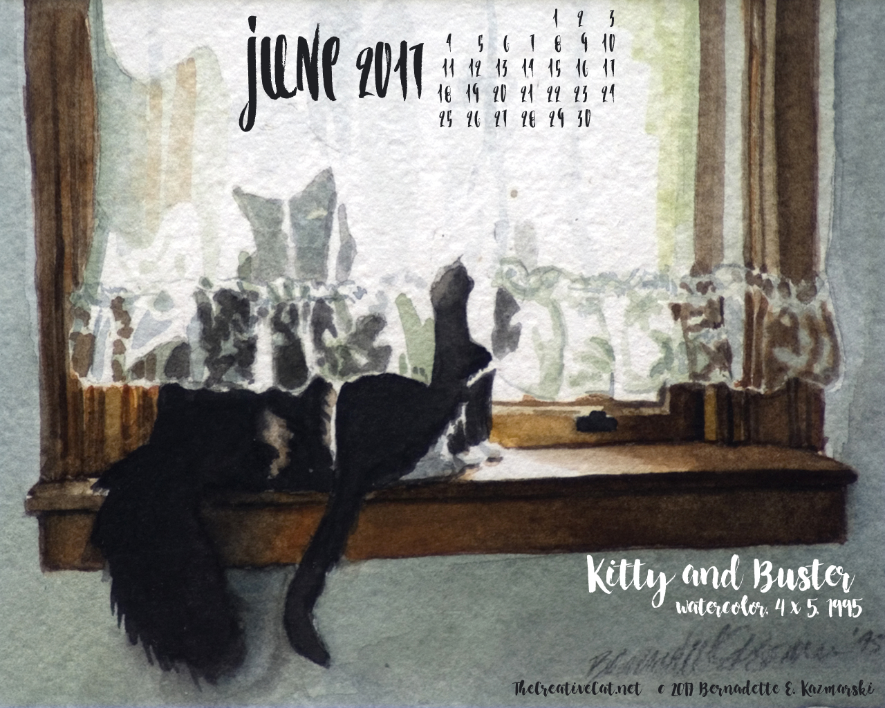 June Feline Desktop Calendar Wallpaper