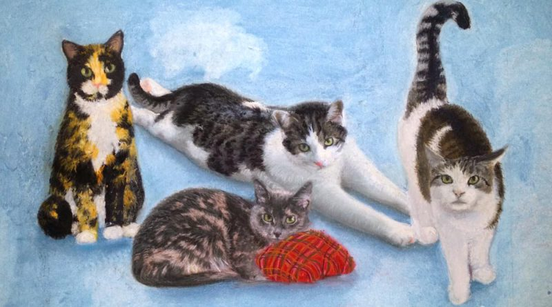 Commissioned Portrait: Sadie, Marley, Cici and Ashes