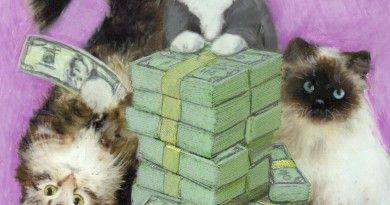"Featured Artwork: New Klepto Cat Book Cover, ""Meow for the Money"""