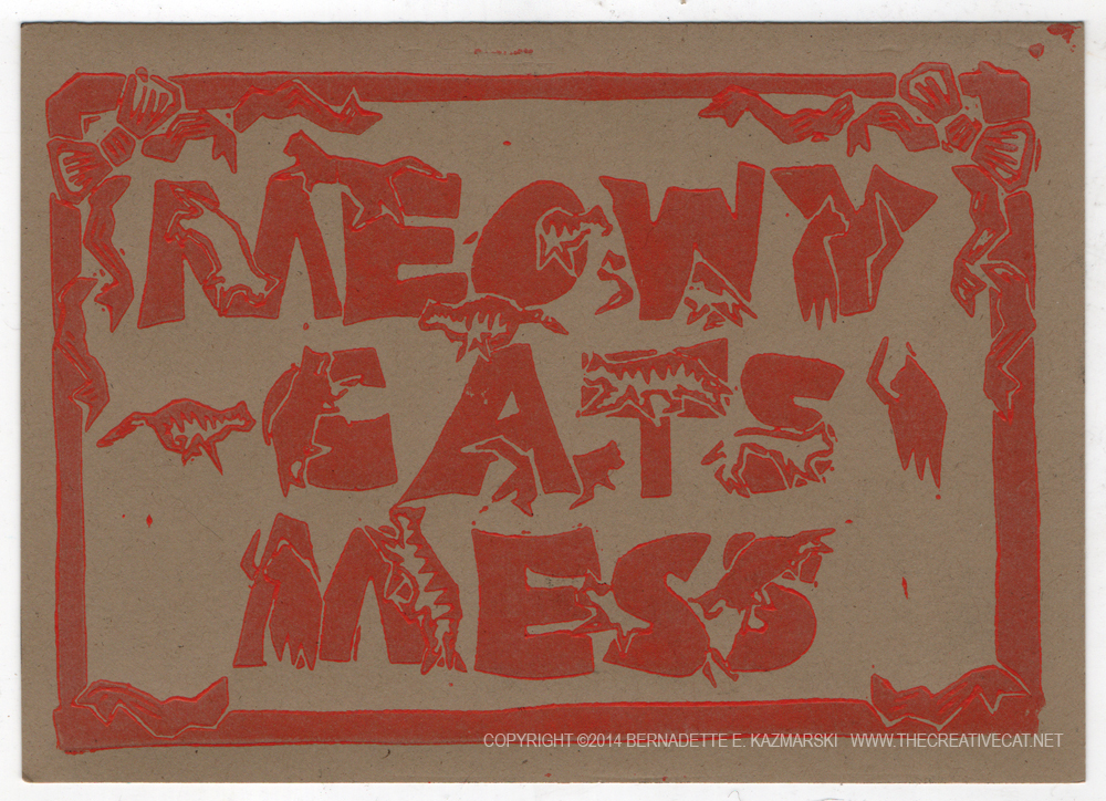 block print of meowy cats mess