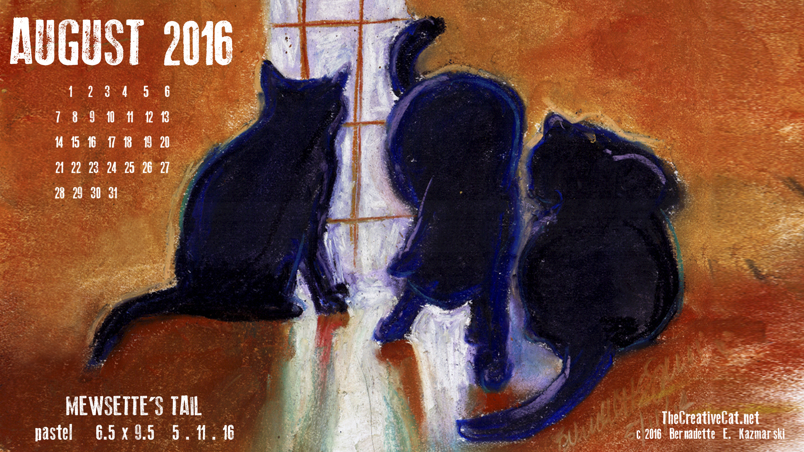 """Mewsette' Tail' desktop calendar 2560 x 1440 for HD and wide screens."