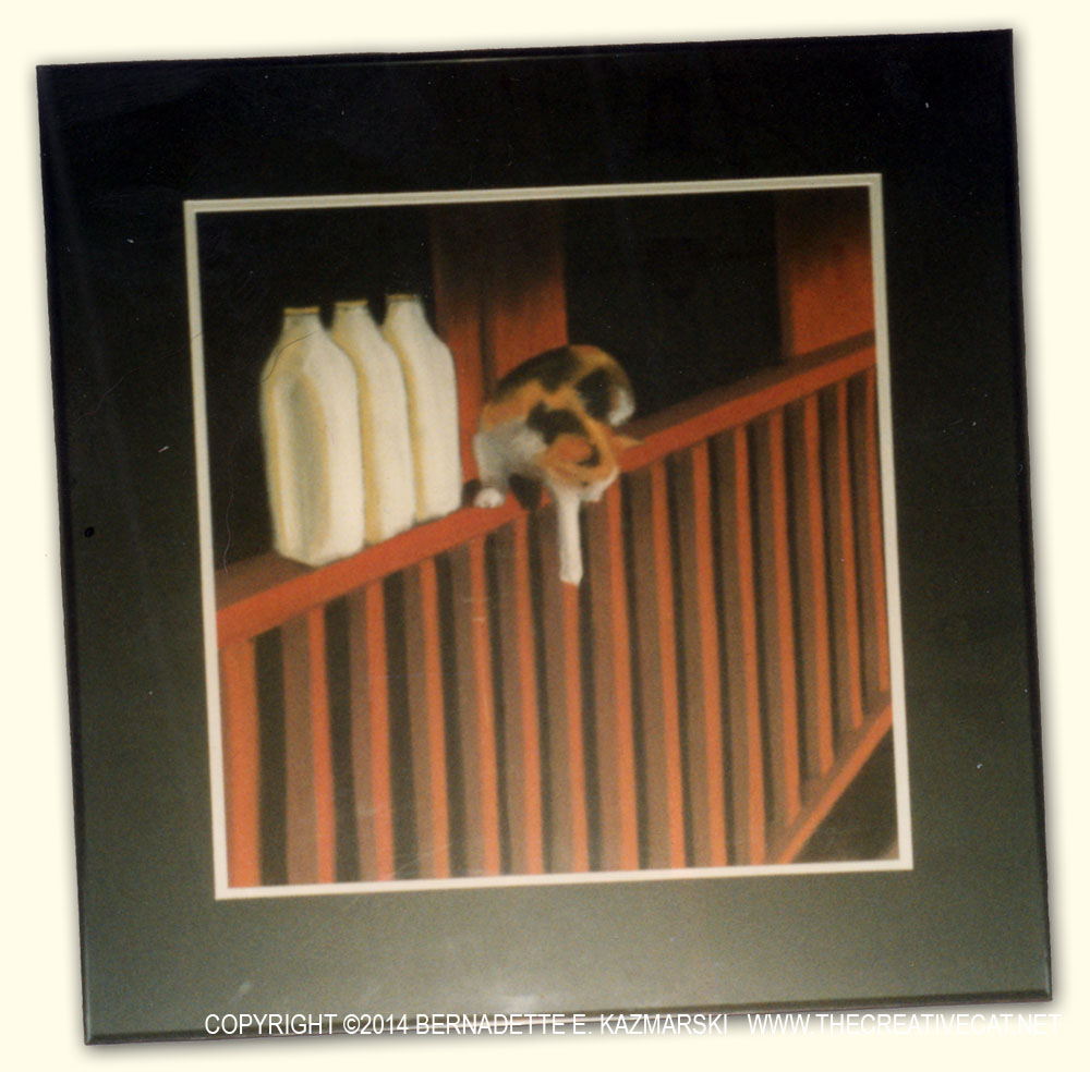 pastel of calico cat on railing