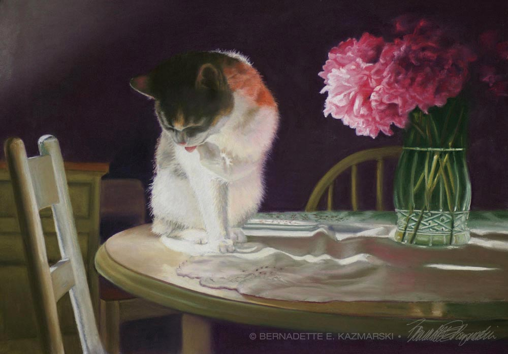"""Peaches and Peonies"", pastel, 23"" x 16"", 2008 © Bernadette E. Kazmarski"