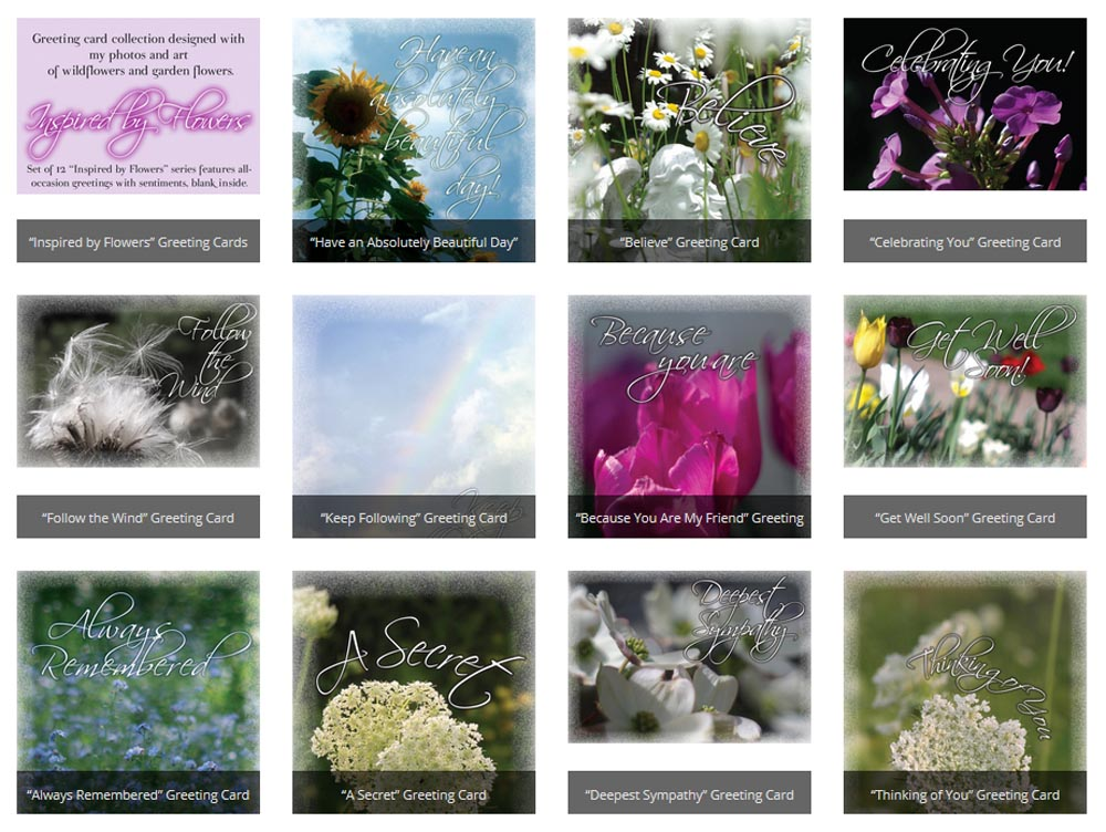 """""""Inspired by Flowers"""" greeting cards."""