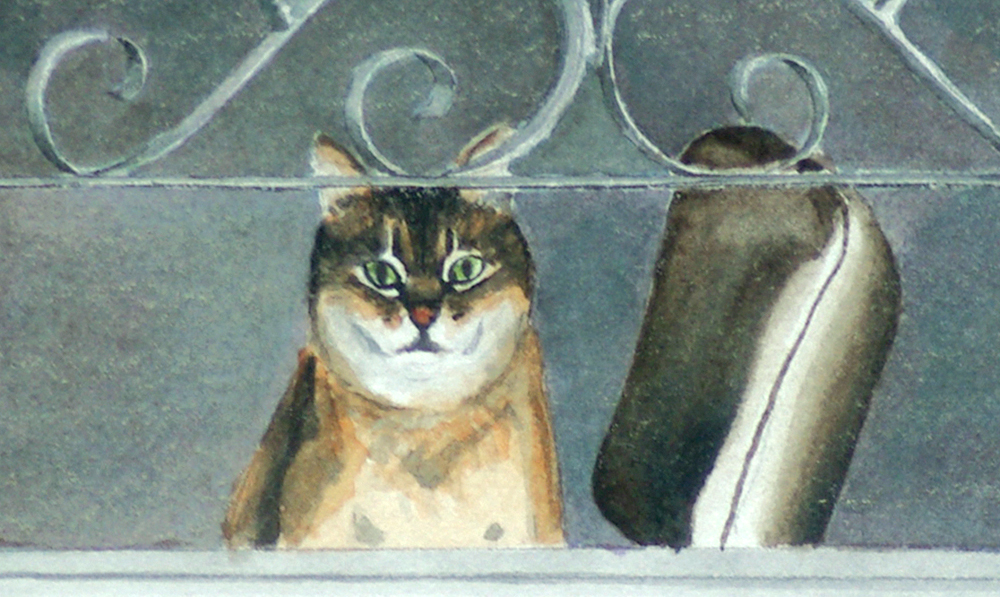 watercolor of cat sitting on chair at door