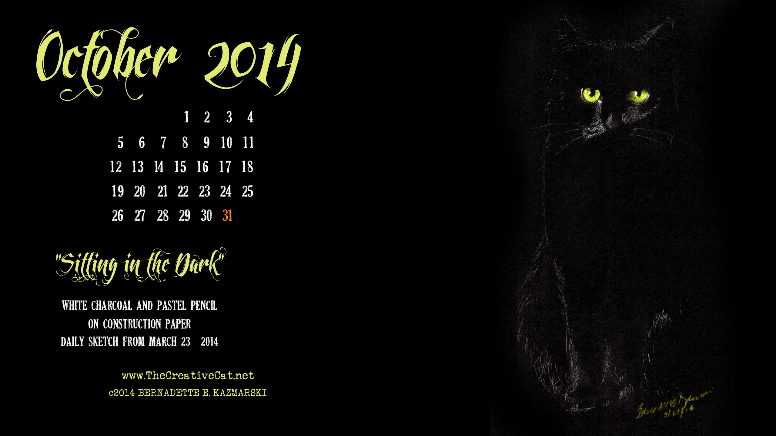 """""""Sitting in the Dark"""", 2560 x 1440 for wide and HD monitors cats desktop calendar"""