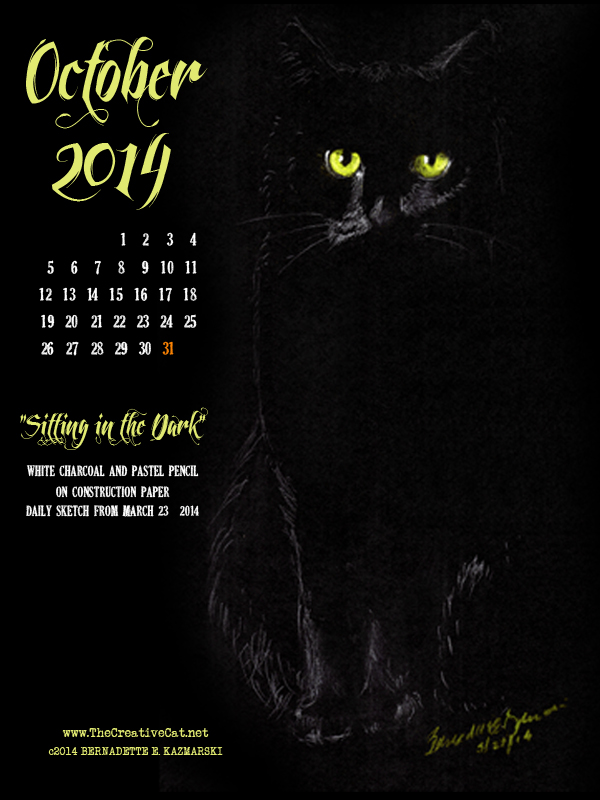 """""""Sitting in the Dark"""" desktop calendar, for 600 x 800 for iPad, Kindle and other readers cats desktop calendar"""