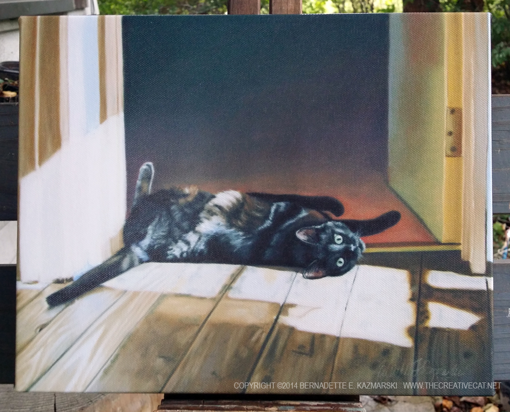 canvas print of black cat on floor