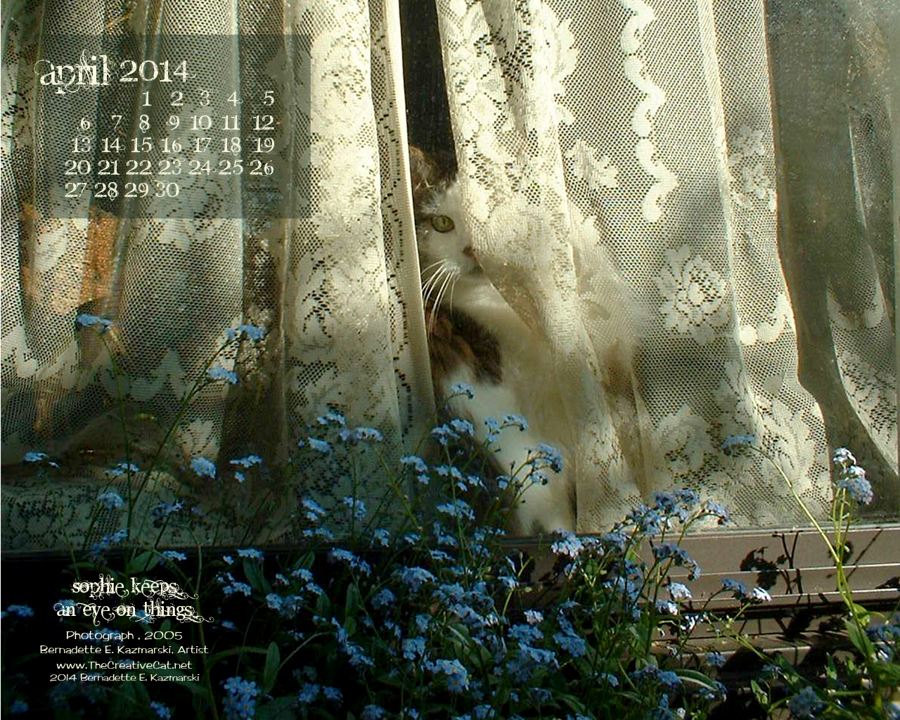 """Sophie Keeps an Eye on Things"" 1280 x 1024 for square and laptop monotors desktop calendar wallpaper"