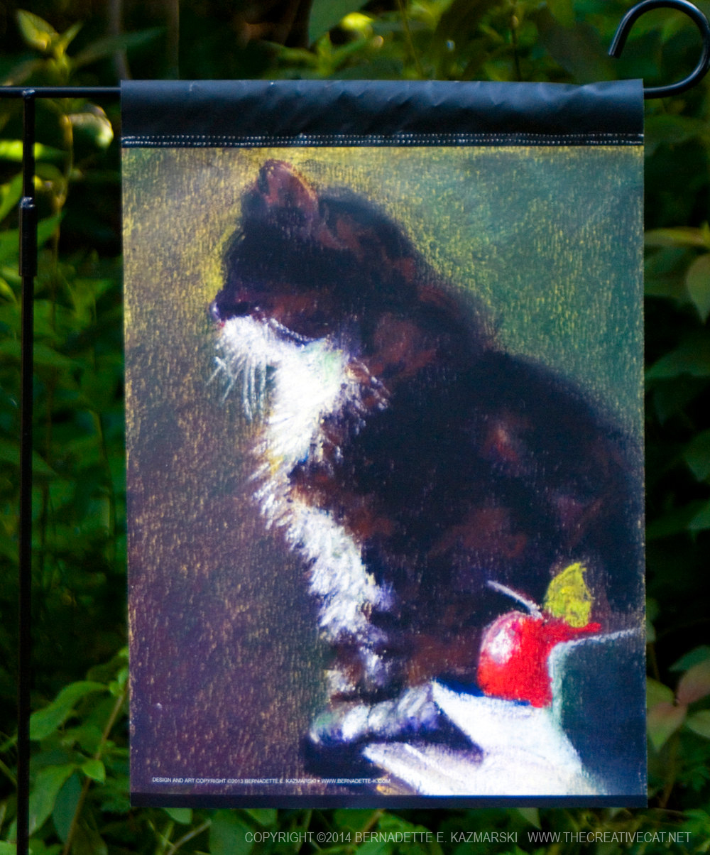 garden flag with cat