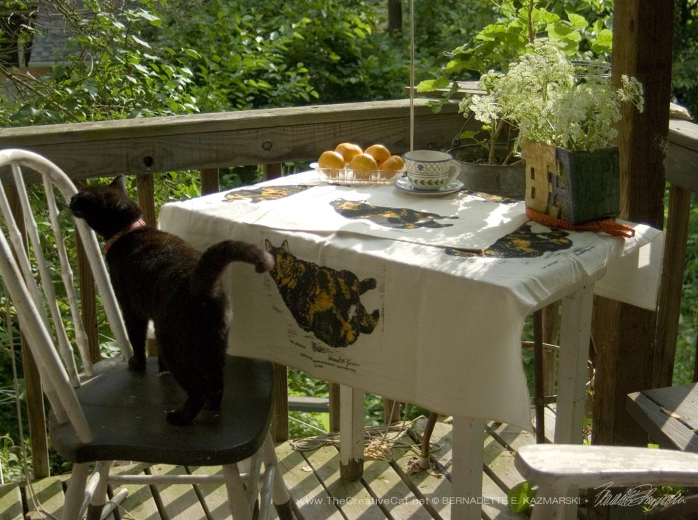 Tortie Girls tableset, The Goddess tablecloth and place mats.