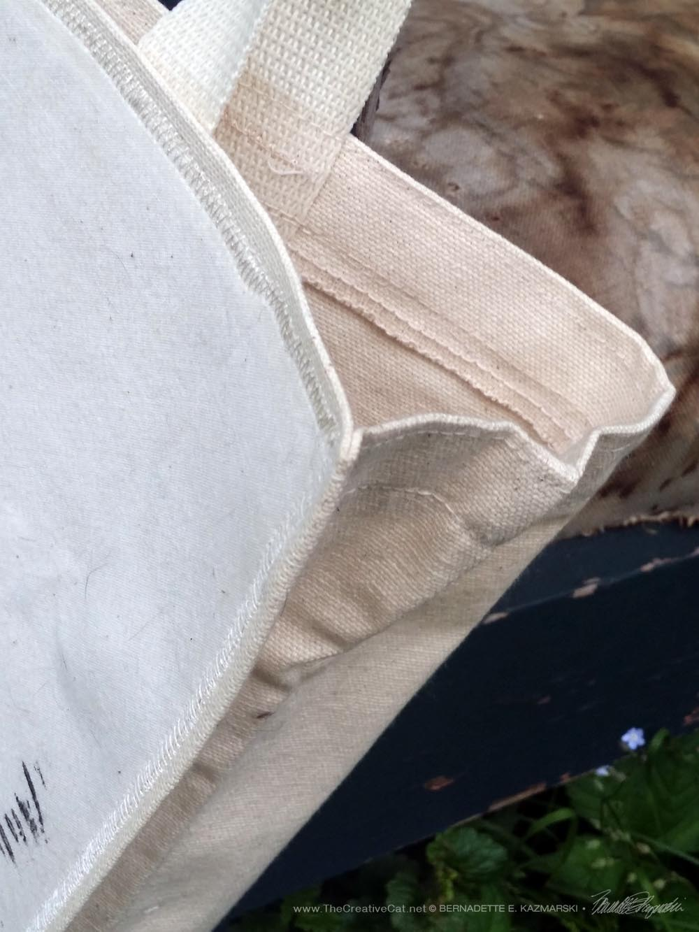 Edge-stitching on the tote bags.