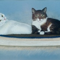 pastel portrait of two cats