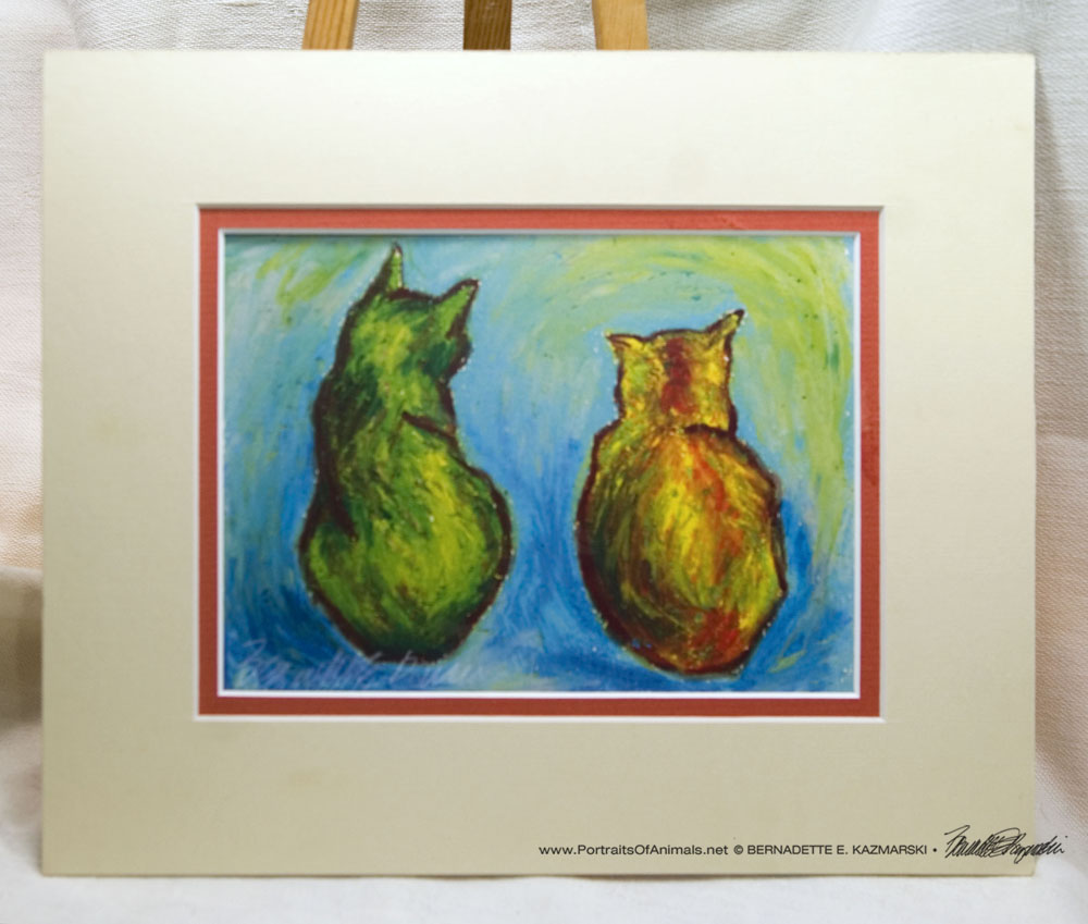 Two Cats After van Gogh matted print