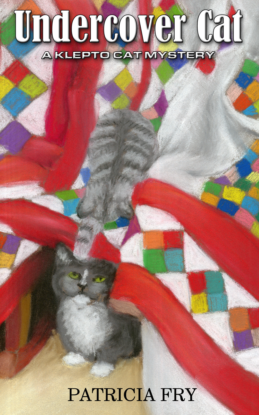 two gray cats on quilt