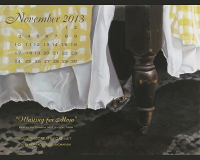 """Waiting for Mom"" desktop calendar for square monitors."