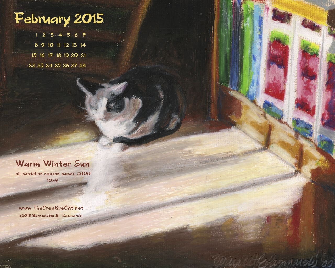 """Warm Winter Sun"" desktop calendar, 1280 x 1024 for square and laptop monitors"