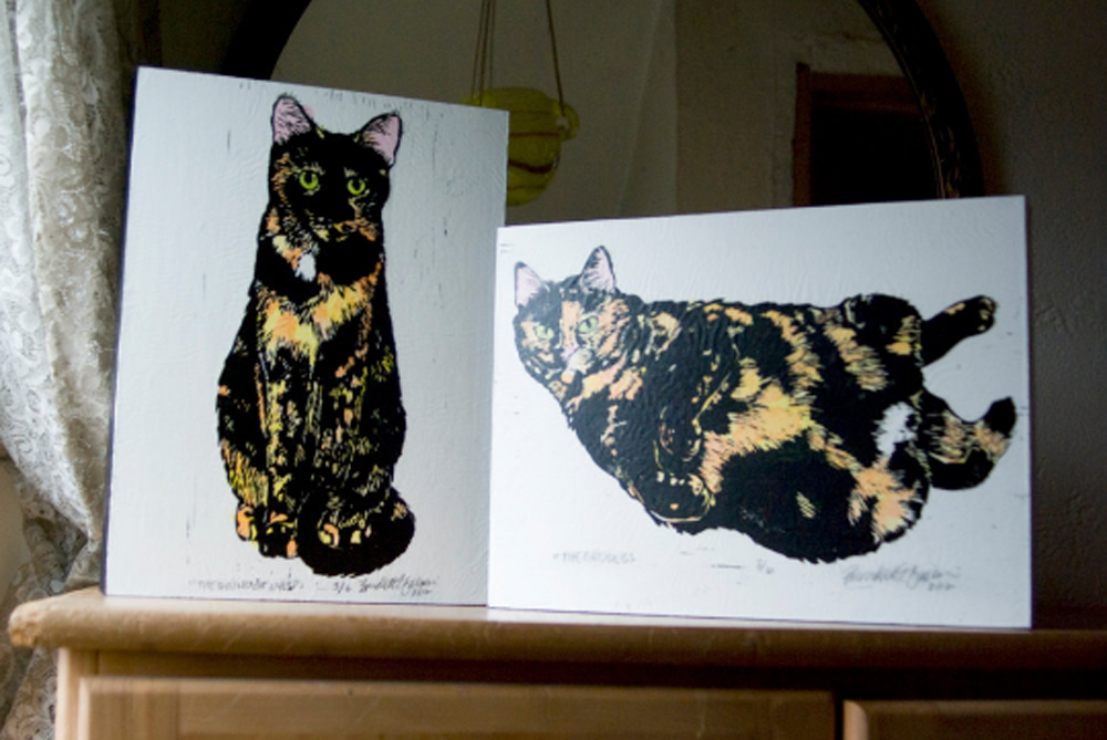 Tortie Girls wood mounted prints.