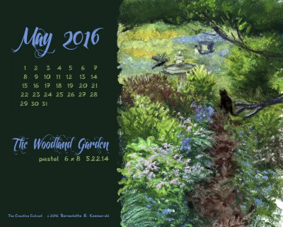 """""""The Woodland Garden"""" desktop calendar, 1280 x 1024 for square and laptop monitors."""