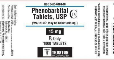 Nationwide Recall of Phenobarbital 15 mg Tablets, USP due to Labeling Error on Declared Strength
